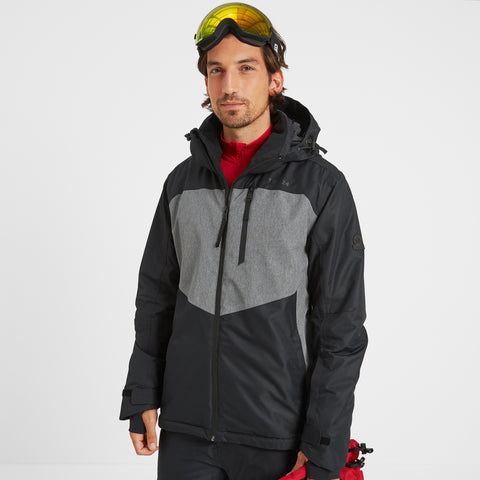 Blade Mens Waterproof Insulated Ski Jacket - Black/Grey Marl