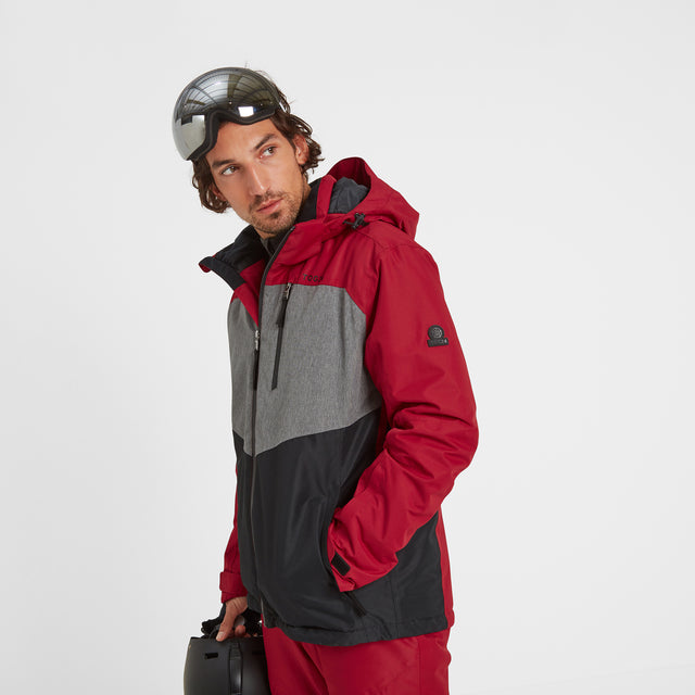 Blade Mens Waterproof Insulated Ski Jacket - Chilli/Grey/Black image 1