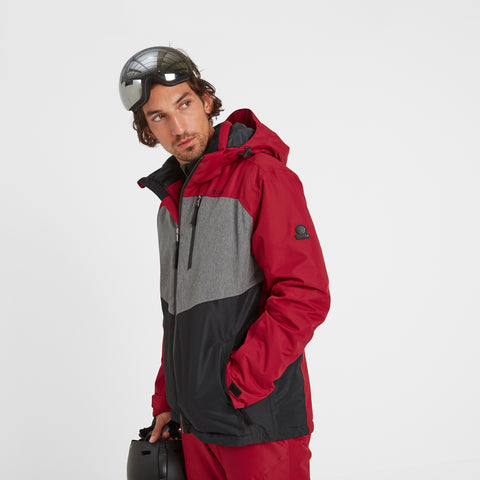 Blade Mens Waterproof Insulated Ski Jacket - Chilli/Grey/Black