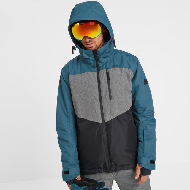 Blade Mens Waterproof Insulated Ski Jacket - Lagoon/Grey/Black image 2