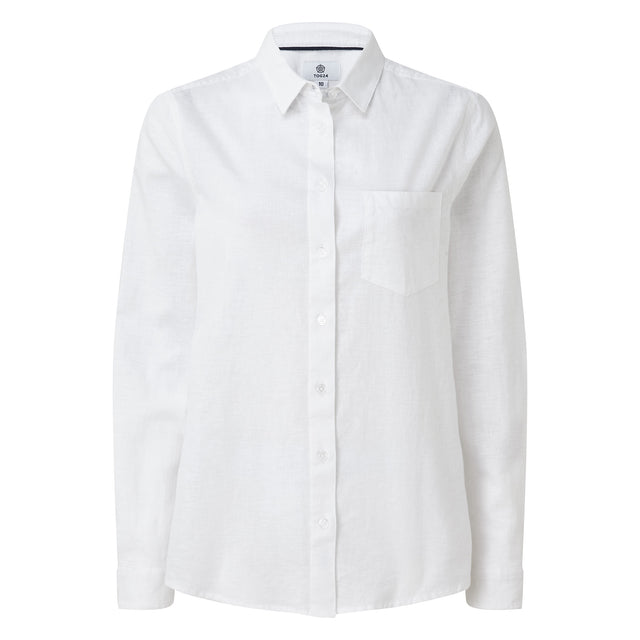 Blyth Womens Long Sleeve Linen Shirt - Optic White image 3