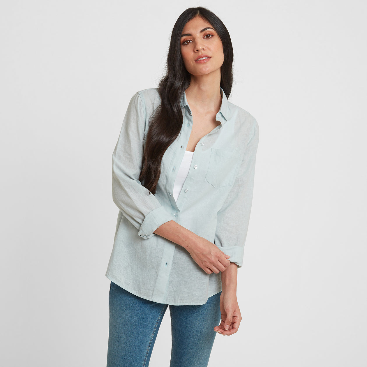 Blyth Womens Long Sleeve Linen Shirt - Ice Blue image 4