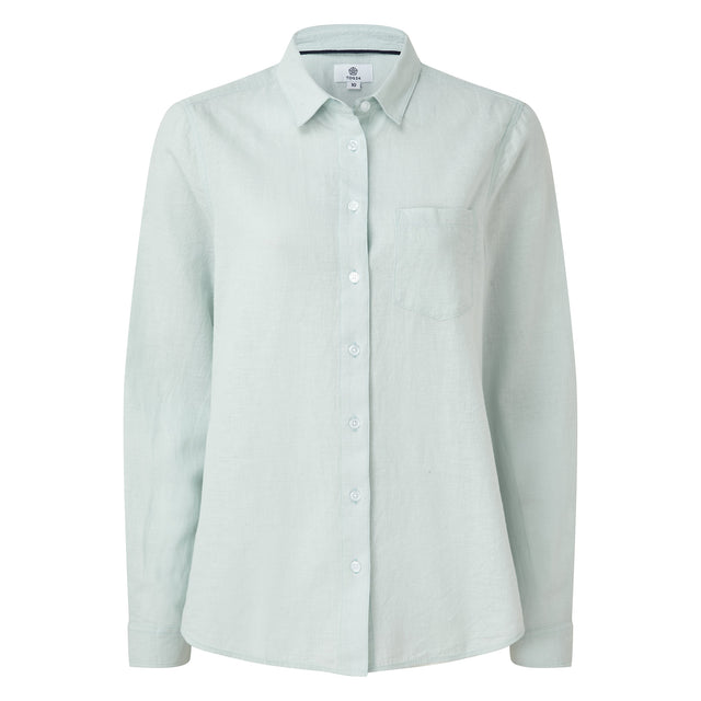Blyth Womens Long Sleeve Linen Shirt - Ice Blue image 3