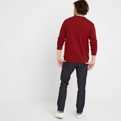 Borrowby Mens Crew Sweat - Rio Red
