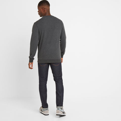 Borrowby Mens Crew Sweat - Dark Grey Marl