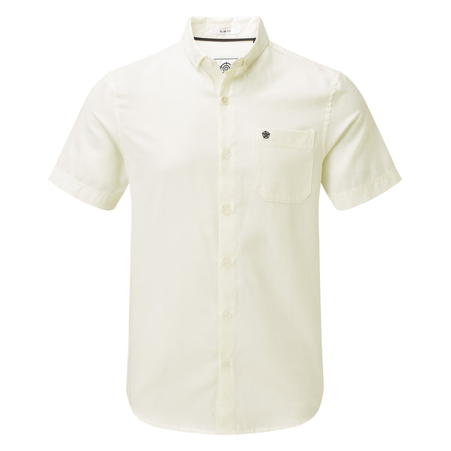 Botham Mens Short Sleeve Slim Fit Oxford Shirt - Off White image 1