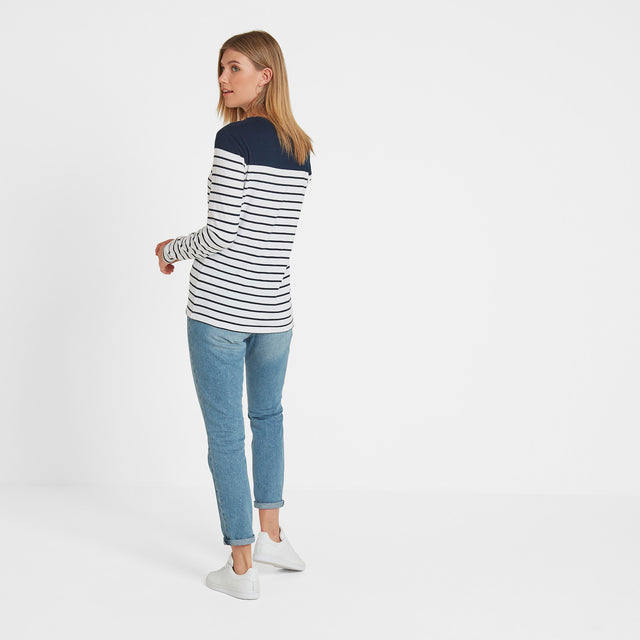 Braythorn Womens Long Sleeve Stripe T-Shirt - Navy image 3