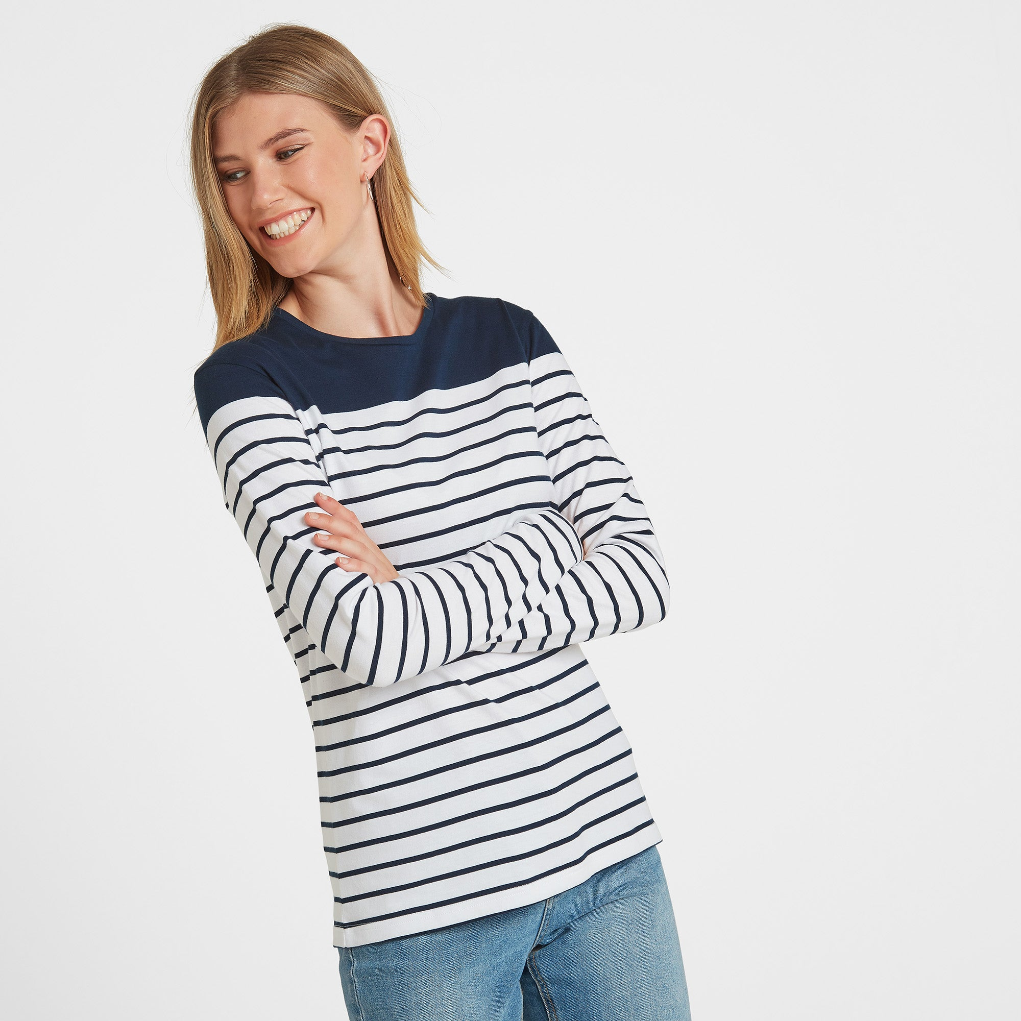Braythorn Womens Long Sleeve Stripe T-Shirt - Navy