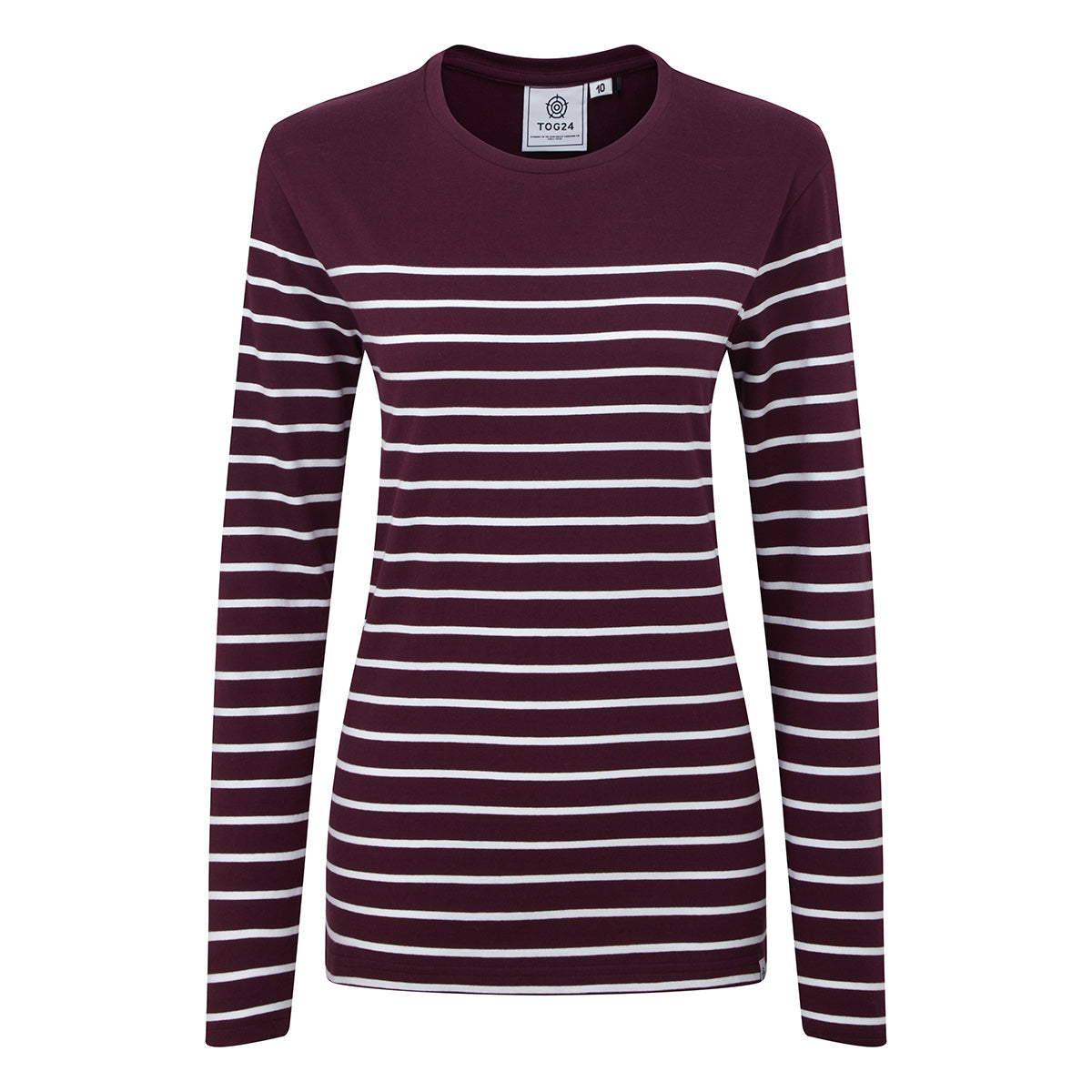 Braythorn Womens Long Sleeve Stripe T-Shirt - Aubergine image 4