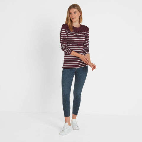 Braythorn Womens Long Sleeve Stripe T-Shirt - Aubergine