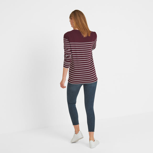 Braythorn Womens Long Sleeve Stripe T-Shirt - Aubergine image 3