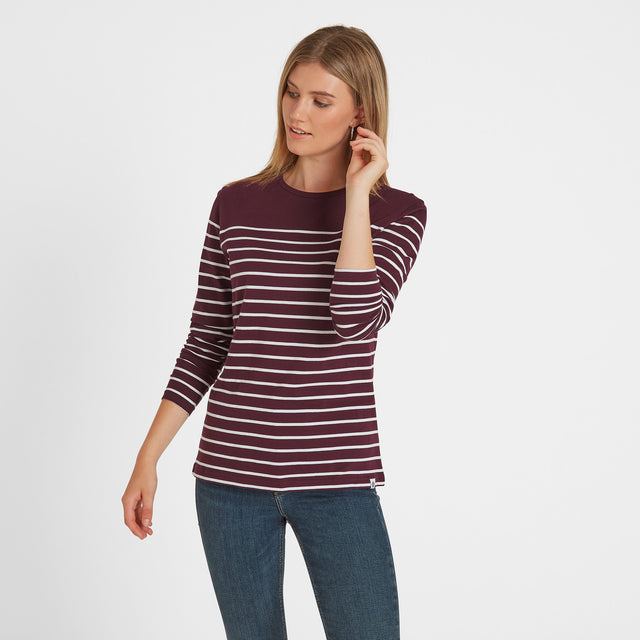 Braythorn Womens Long Sleeve Stripe T-Shirt - Aubergine image 1