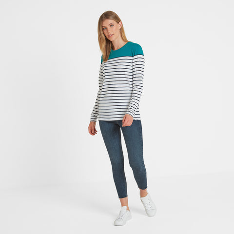 Braythorn Womens Long Sleeve Stripe T-Shirt - Topaz