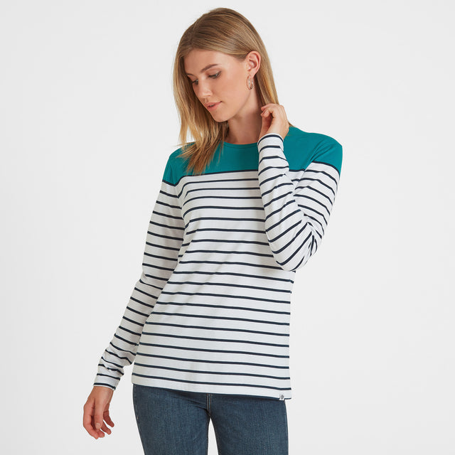 Braythorn Womens Long Sleeve Stripe T-Shirt - Topaz image 1