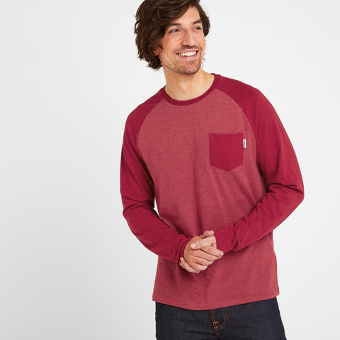 Bristow Mens Long Sleeve Raglan T-Shirt - Rio Red Marl/Rio