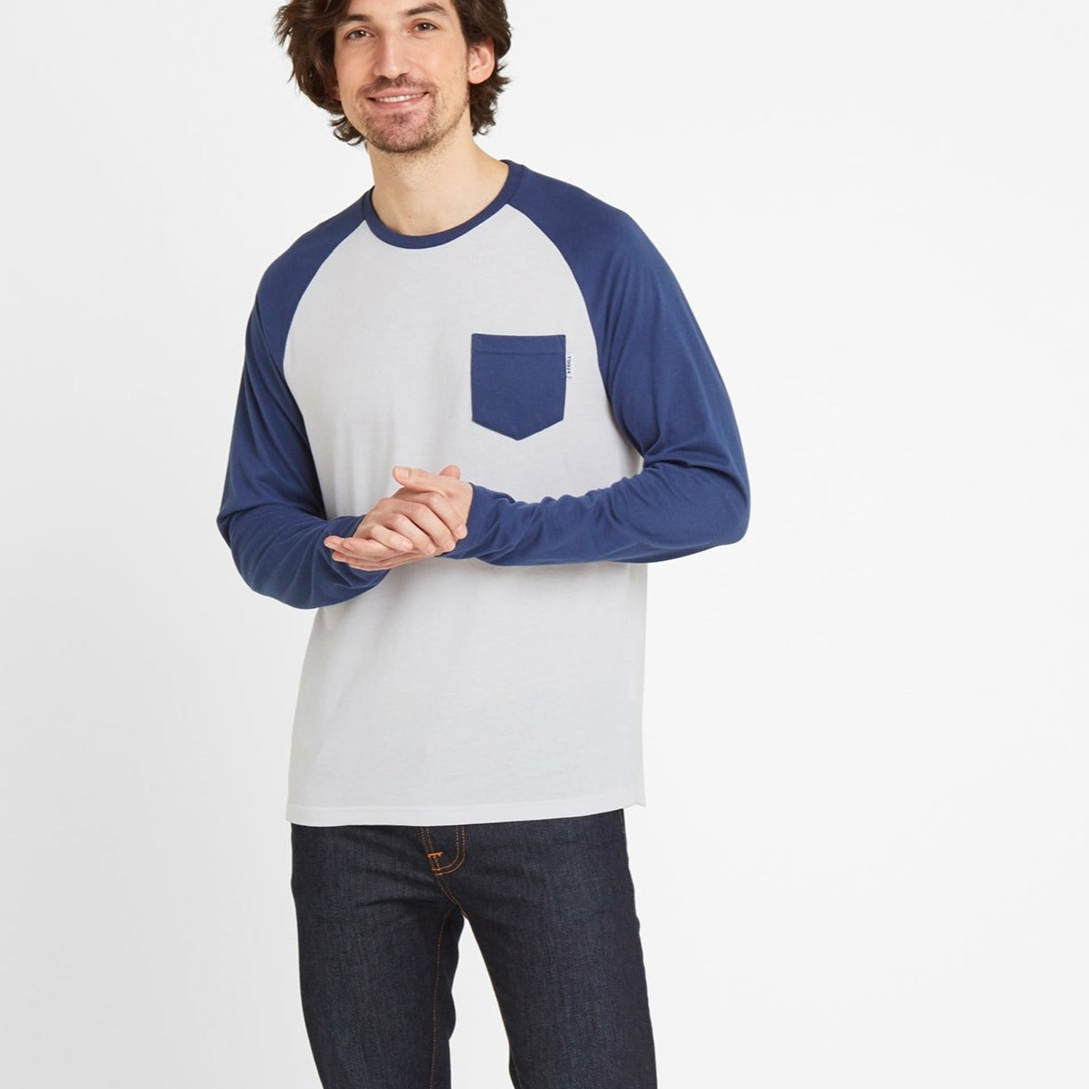 Bristow Mens Long Sleeve Raglan T-Shirt - Optic White/Denim image 4