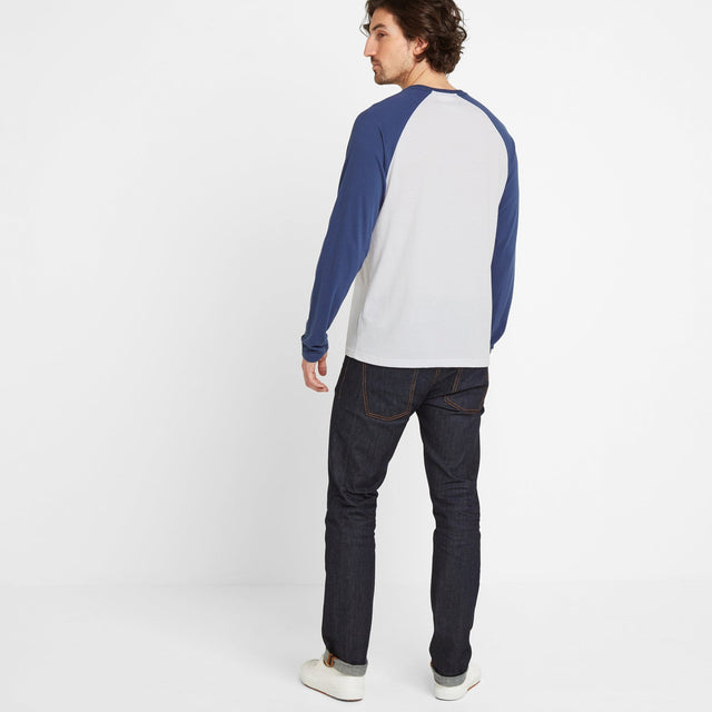 Bristow Mens Long Sleeve Raglan T-Shirt - Optic White/Denim image 2