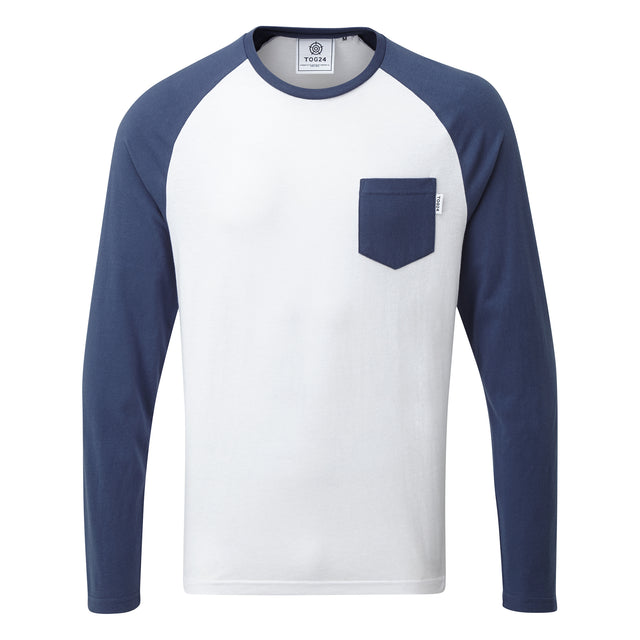 Bristow Mens Long Sleeve Raglan T-Shirt - Optic White/Denim image 3