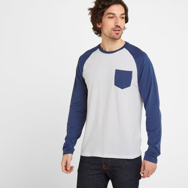 Bristow Mens Long Sleeve Raglan T-Shirt - Optic White/Denim image 1