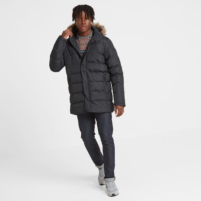 Caliber Mens Long Insulated Jacket - Black image 1