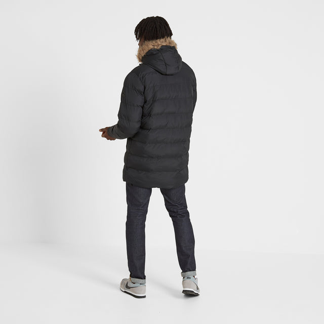 Caliber Mens Long Insulated Jacket - Black image 3