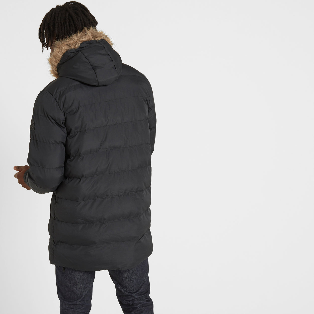 Caliber Mens Long Insulated Jacket - Black image 4