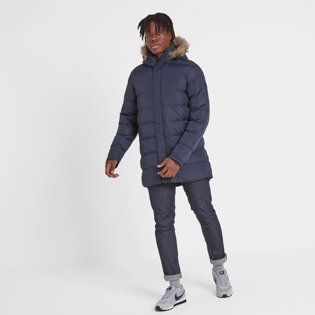 Caliber Mens Long Insulated Jacket - Navy image 2