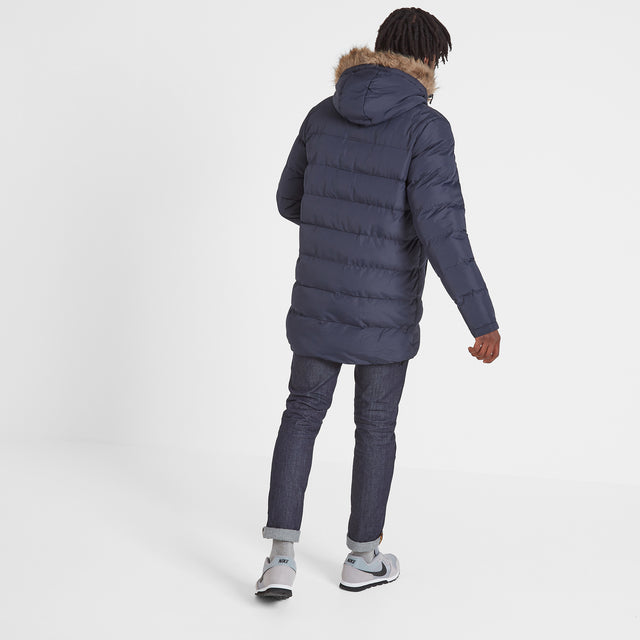 Caliber Mens Long Insulated Jacket - Navy image 3