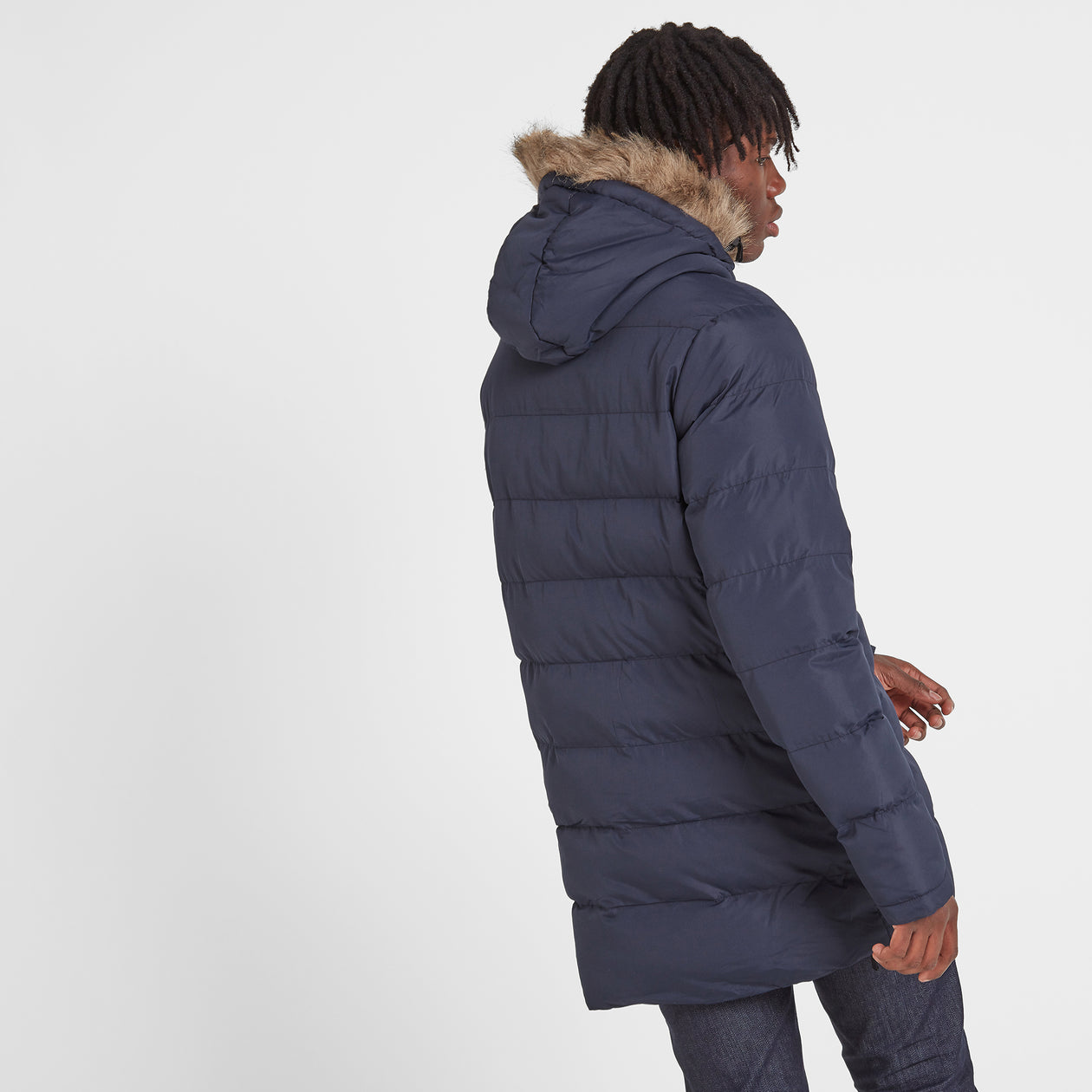 Caliber Mens Long Insulated Jacket - Navy image 4