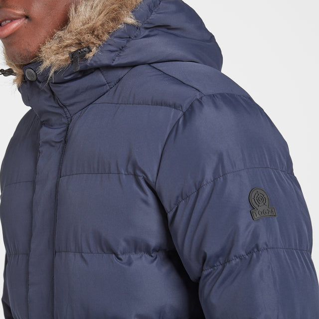 Caliber Mens Long Insulated Jacket - Navy image 5