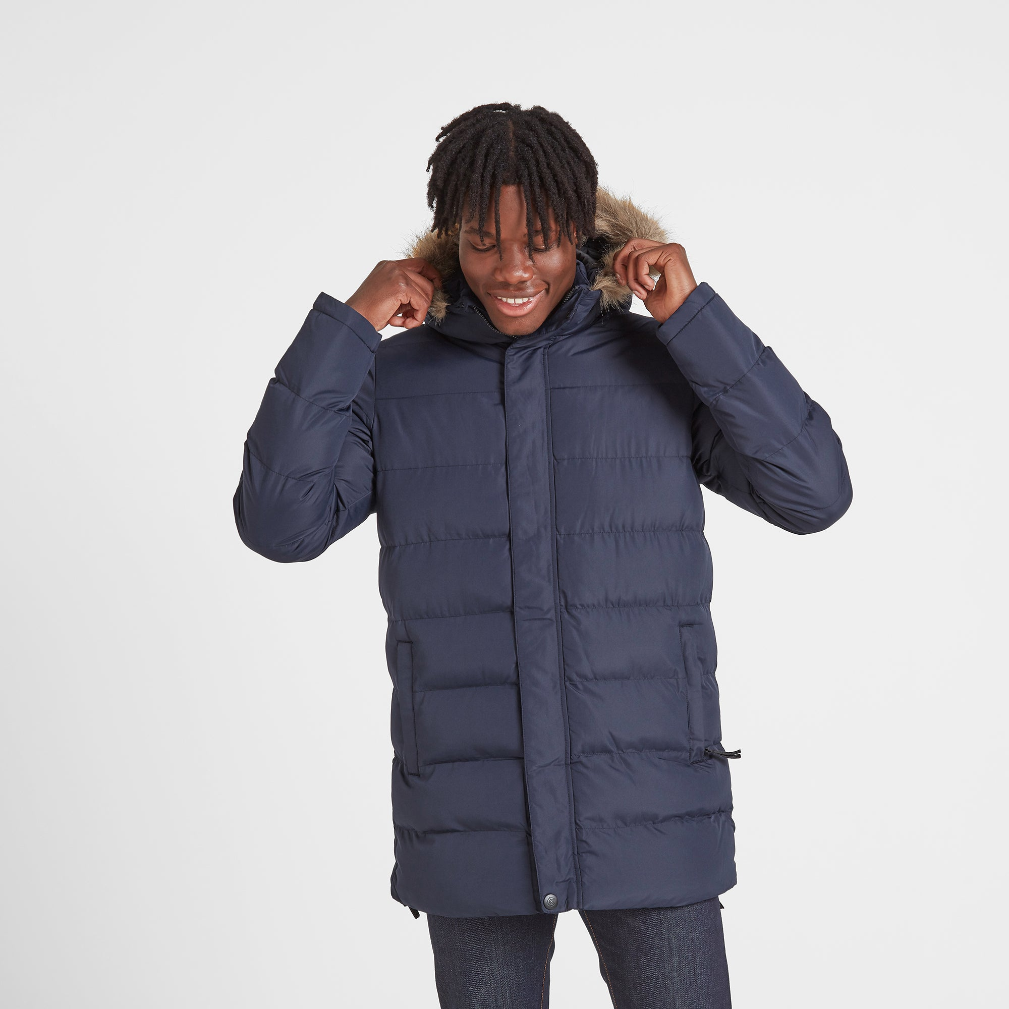Caliber Mens Long Insulated Jacket - Navy