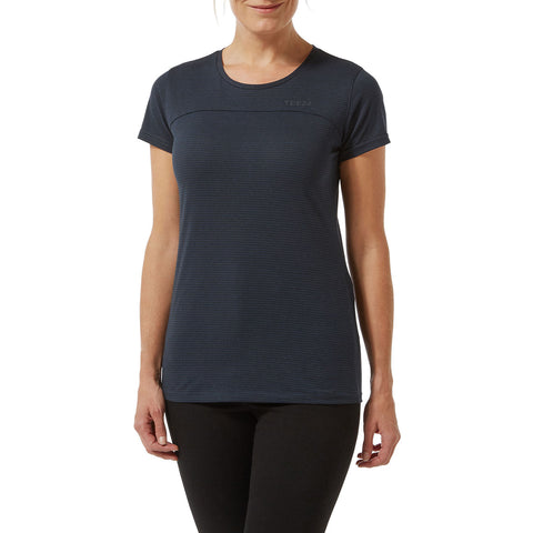 Caverly Womens Performance Stripe T-Shirt - Naval Blue