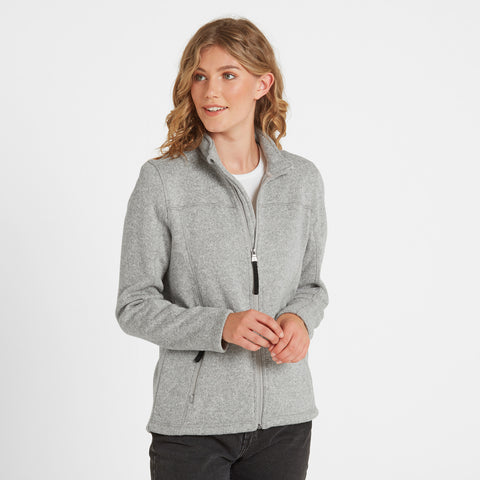 Charlton Womens Knitlook Fleece Jacket - Light Grey Marl