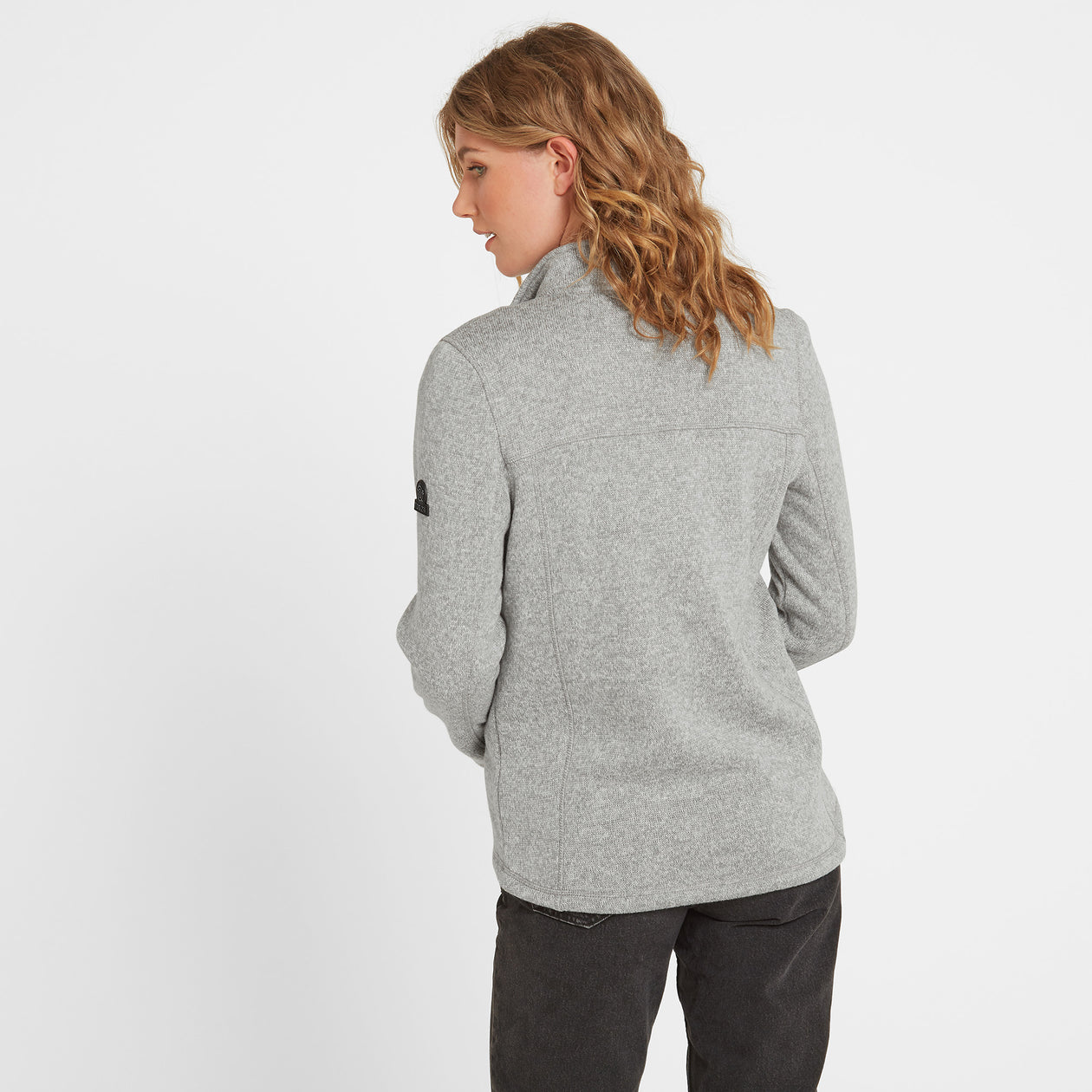 Charlton Womens Knitlook Fleece Jacket - Light Grey Marl image 4
