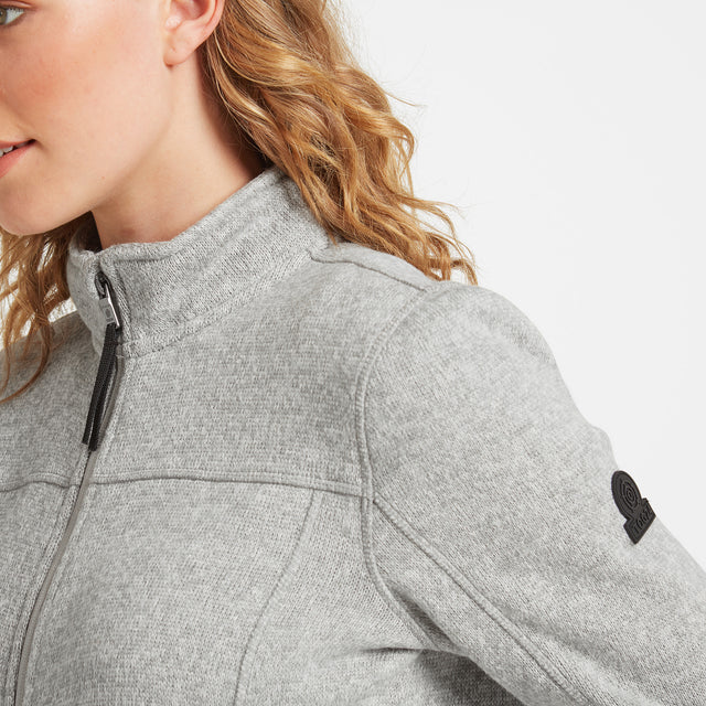 Charlton Womens Knitlook Fleece Jacket - Light Grey Marl image 5