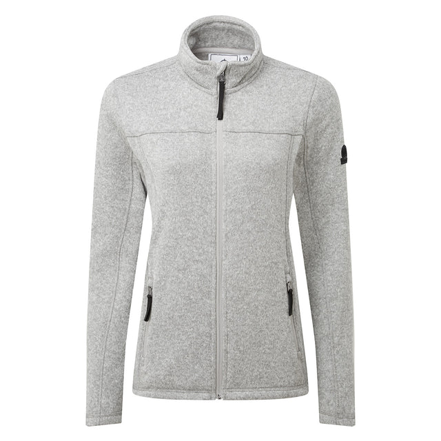 Charlton Womens Knitlook Fleece Jacket - Light Grey Marl image 6