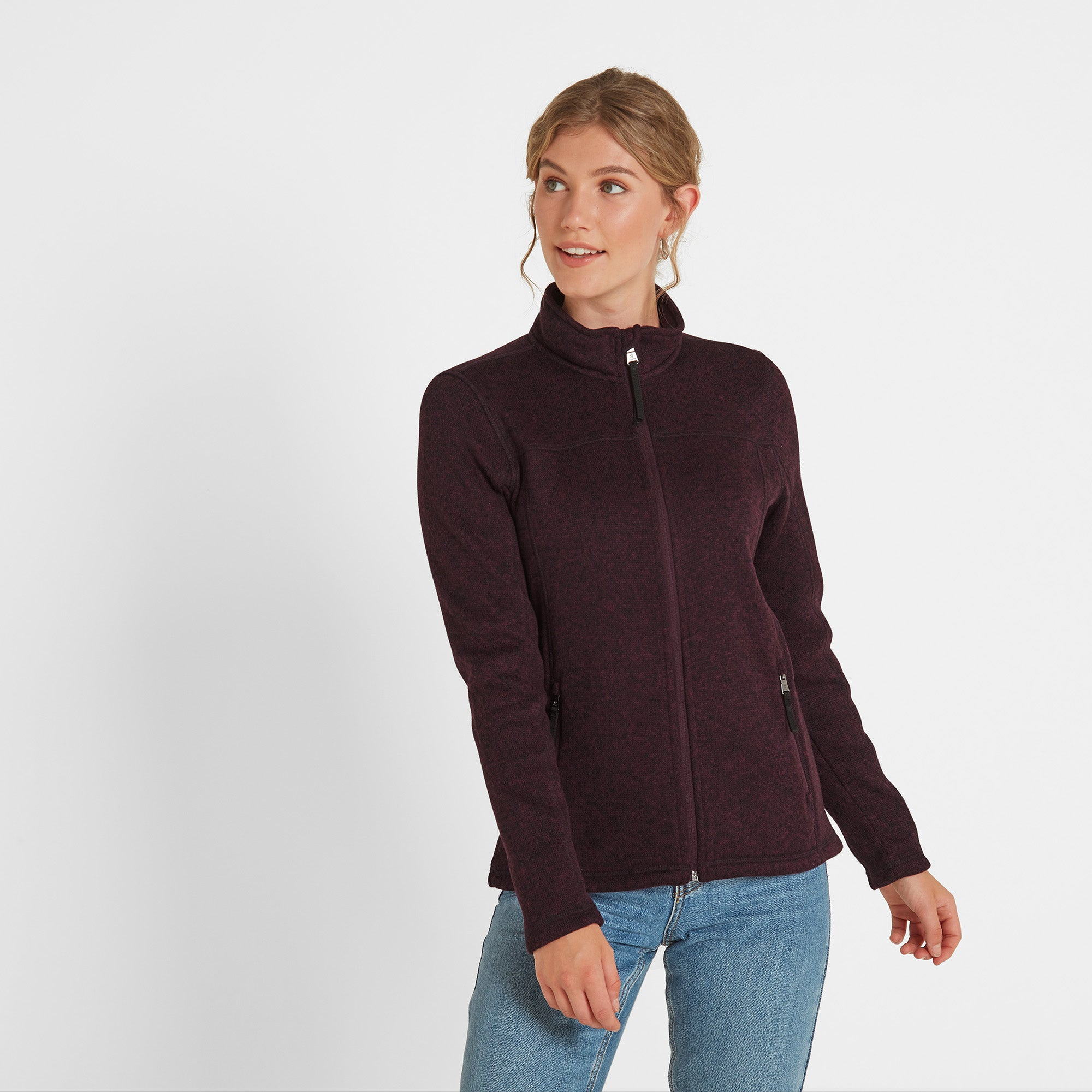 Charlton Womens Knitlook Fleece Jacket - Aubergine