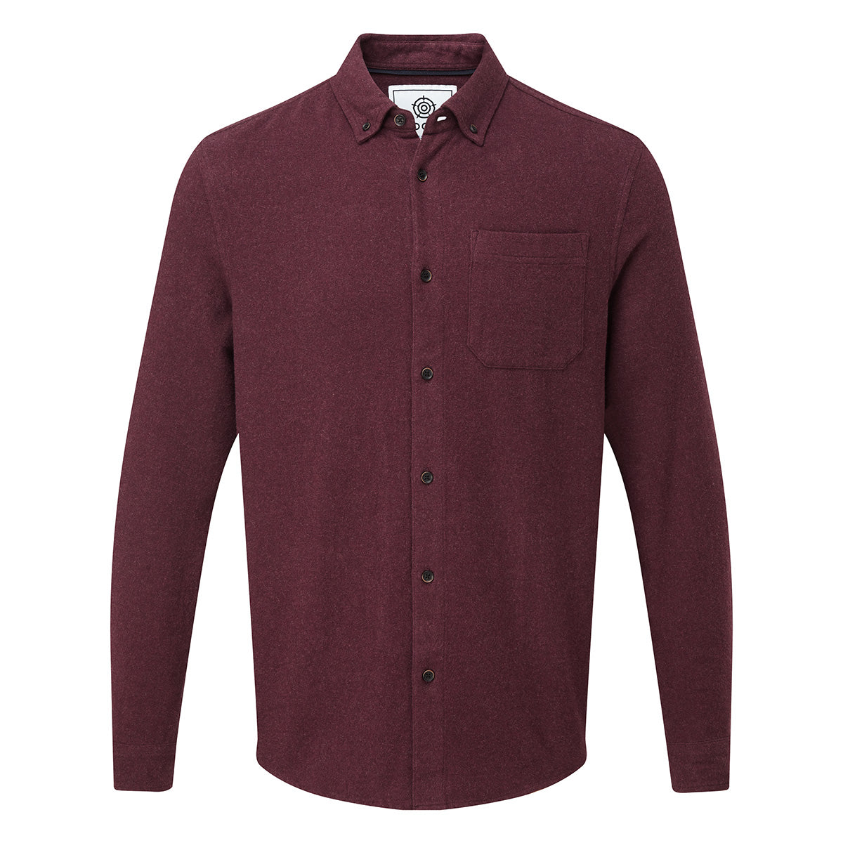Chester Mens Long Sleeve Plain Marl Shirt - Deep Port Marl image 4