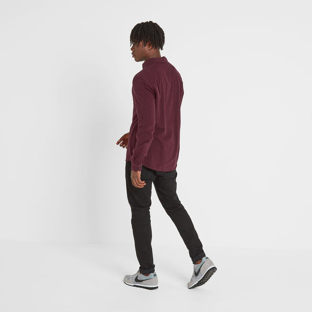 Chester Mens Long Sleeve Plain Marl Shirt - Deep Port Marl image 2