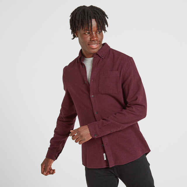 Chester Mens Long Sleeve Plain Marl Shirt - Deep Port Marl image 1