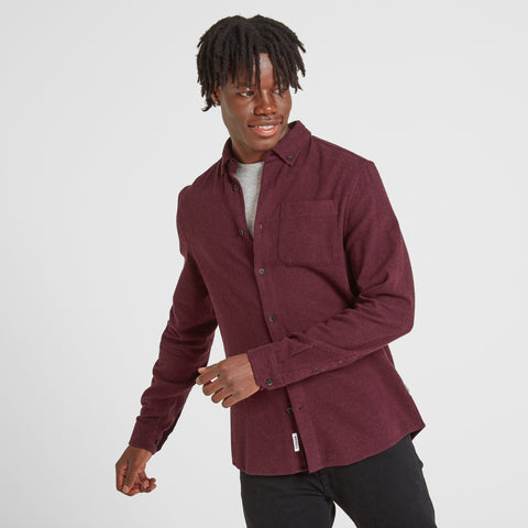 Chester Mens Long Sleeve Plain Marl Shirt - Deep Port Marl