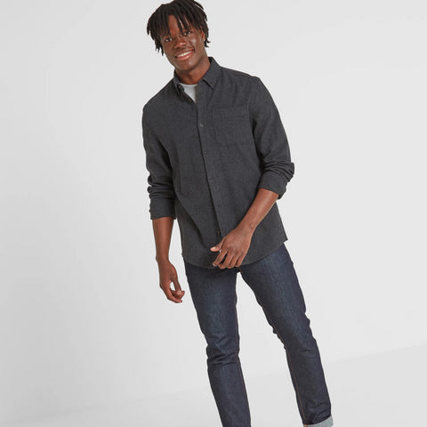 Chester Mens Long Sleeve Plain Marl Shirt - Dark Grey Marl