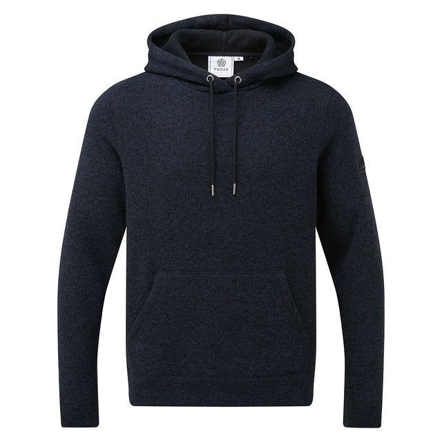 Chilton Mens Knitlook Fleece Hoody - Dark Indigo Marl image 3