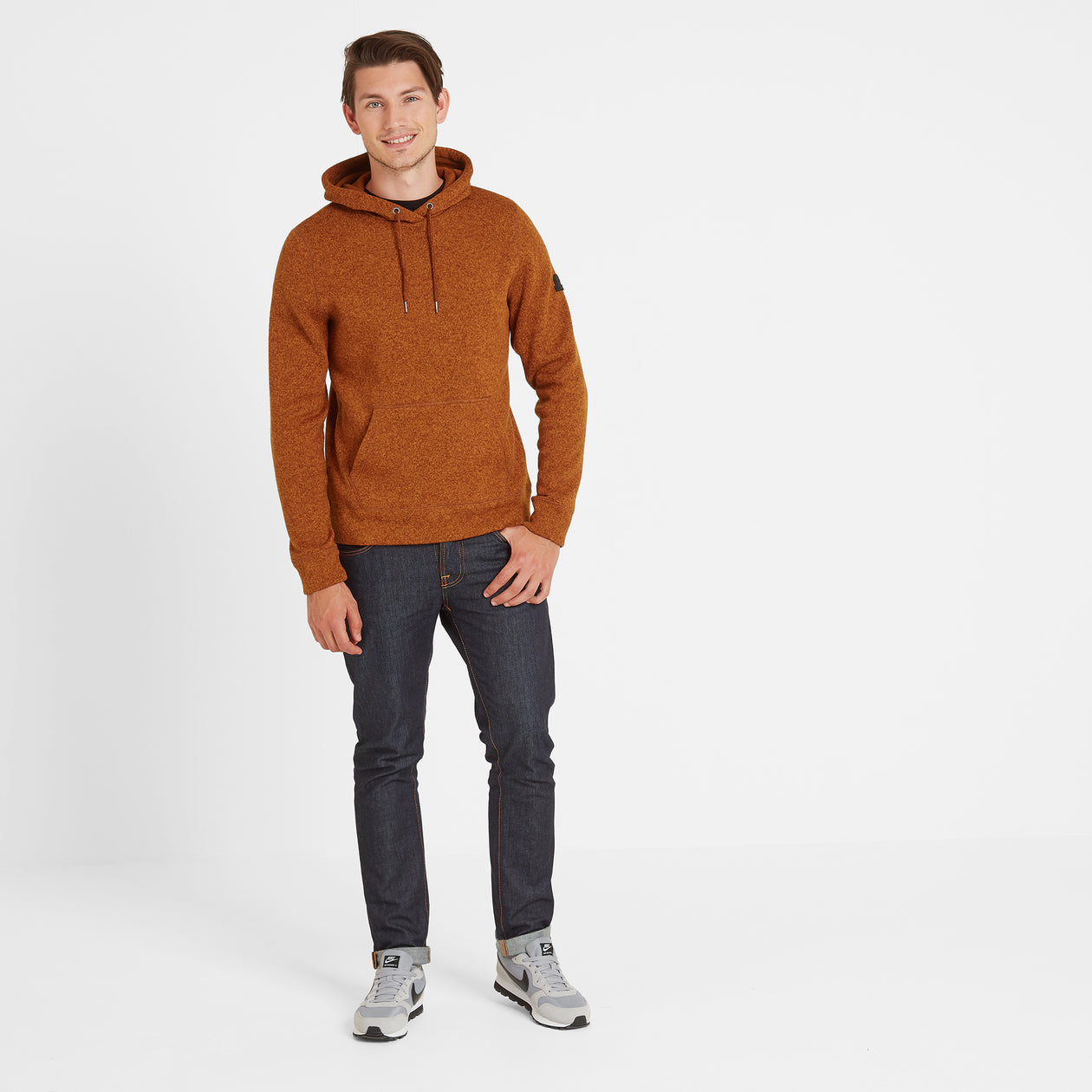 Chilton Mens Knitlook Fleece Hoody - Amber Marl image 4