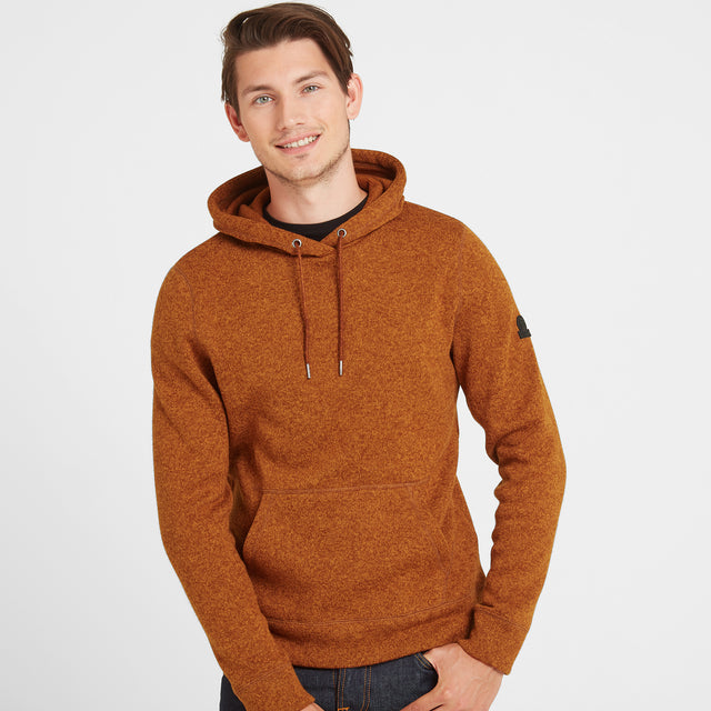 Chilton Mens Knitlook Fleece Hoody - Amber Marl image 2