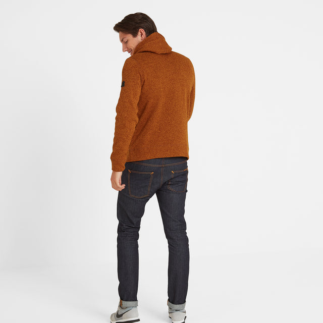 Chilton Mens Knitlook Fleece Hoody - Amber Marl image 3