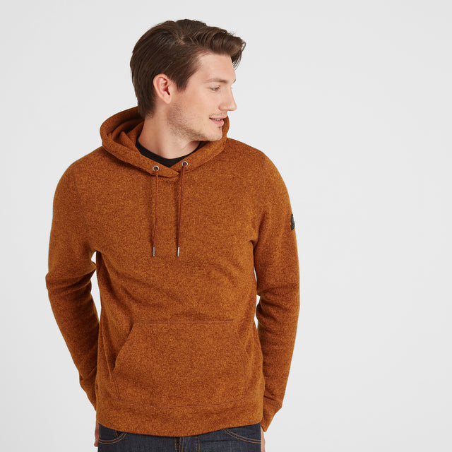 Chilton Mens Knitlook Fleece Hoody - Amber Marl image 1