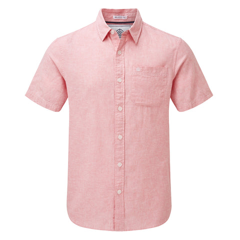 Clifton Mens Short Sleeve Linen Shirt - Pink
