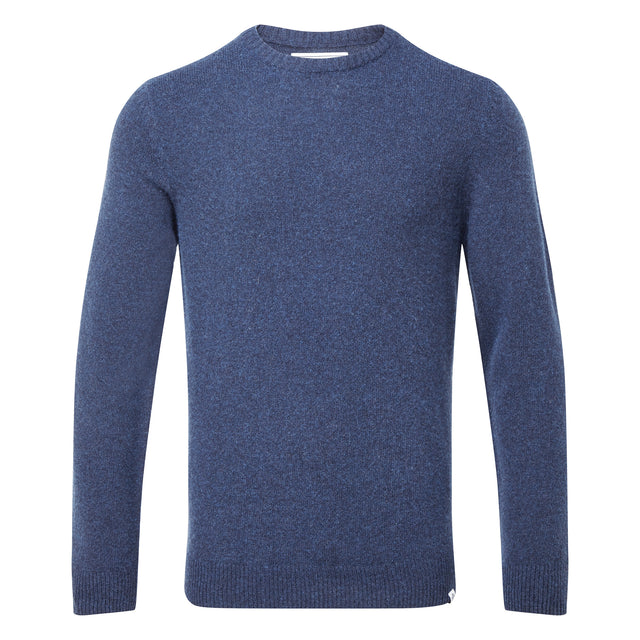Clyde Mens Soft Wool Crew Neck Jumper - Navy Marl image 3