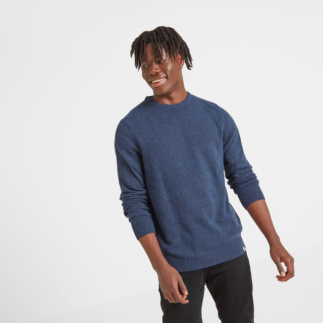 Clyde Mens Soft Wool Crew Neck Jumper - Navy Marl image 1